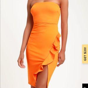 Lulus orange ruffle strapless dress 🧡